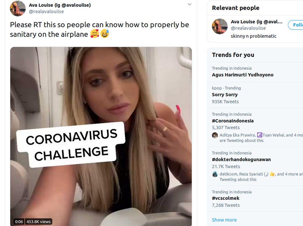 Duh! Wanita Jilat Dudukan Toilet Pesawat Demi Coronavirus Challenge