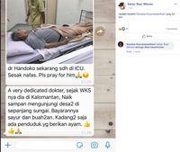 Dokter Tua Yang Bantu Pasien Corona Kabarnya Sekarang Sakit Masuk ICU