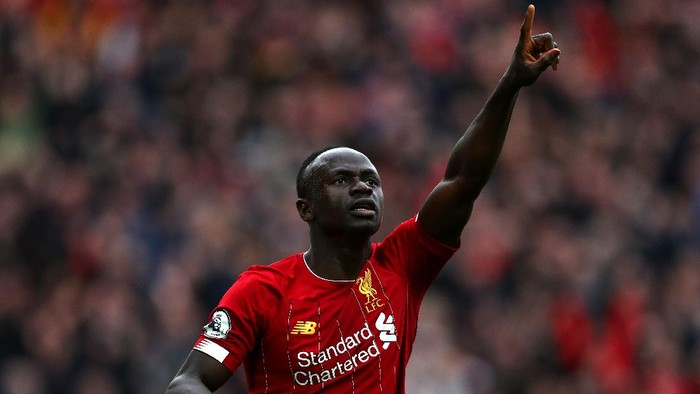 LIVERPOOL, ENGLAND - MARCH 07: Sadio Mane of Liverpool celebrates scoring a goal during the Premier League match between Liverpool FC and AFC Bournemouth  at Anfield on March 07, 2020 in Liverpool, United Kingdom. (Photo by Jan Kruger/Getty Images)