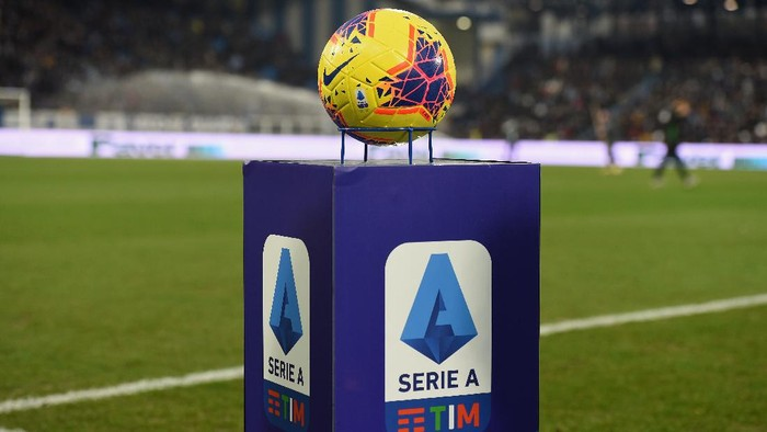 FERRARA, ITALY - FEBRUARY 22:  A official ball of serie A is displayed during the Serie A match between SPAL and  Juventus at Stadio Paolo Mazza on February 22, 2020 in Ferrara, Italy.  (Photo by Pier Marco Tacca/Getty Images)