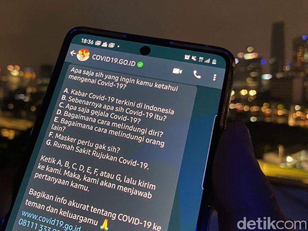 Menjajal Akun Chatbot WhatsApp COVID-19 Pemerintah, Ini Caranya