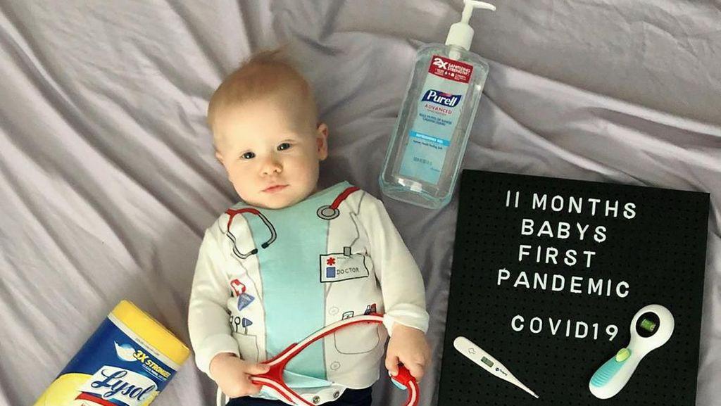 Intip Pemotretan Bayi-bayi Gemas dengan Tema Virus Corona
