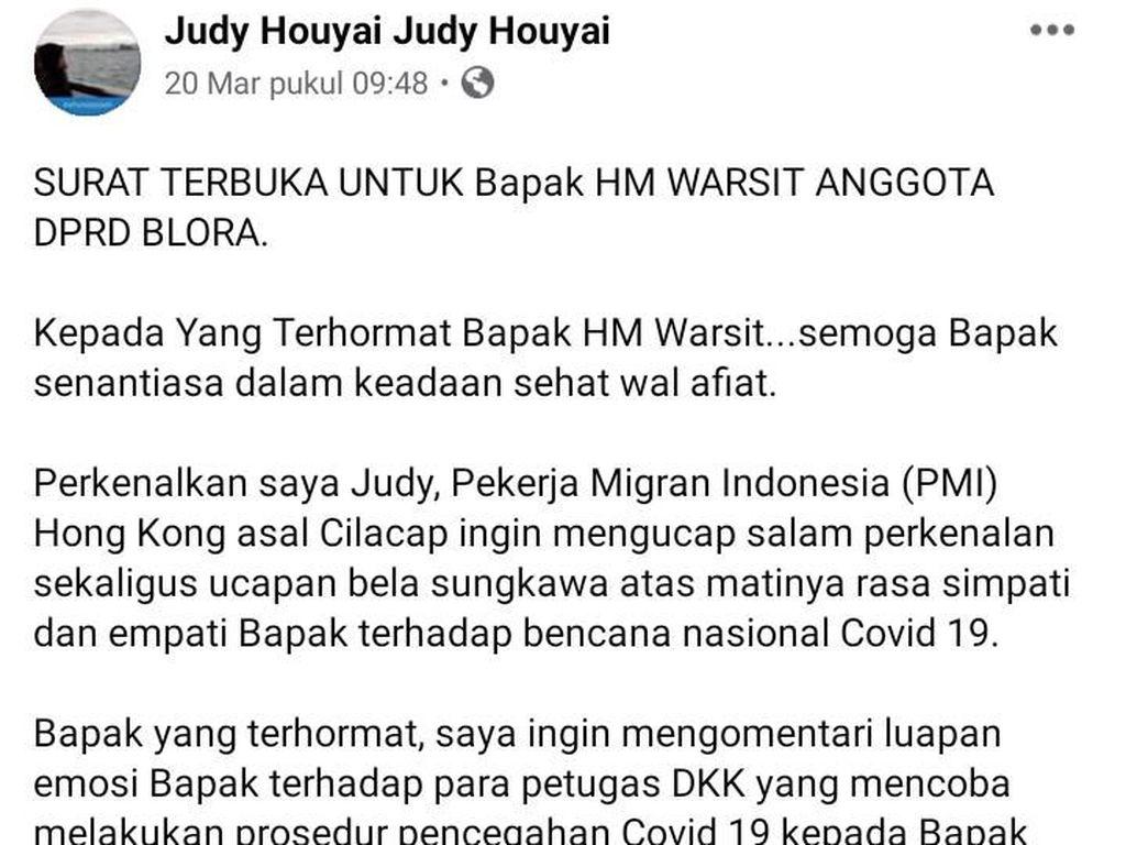 Anggota DPRD Blora Emoh Cek Kesehatan, TKW Hong Kong Kirim Surat Terbuka