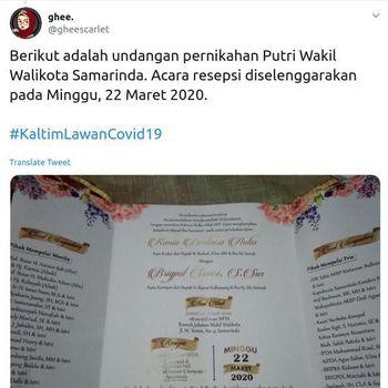 Undangan pernikahan anak Wakil Waliikota Samarinda