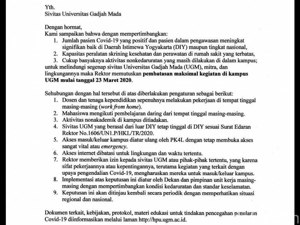 Rektor UGM: Mulai Besok Seluruh Dosen WFH, Mahasiswa Kos Jangan Pulkam
