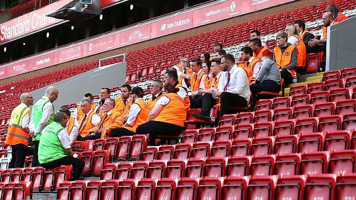 Stewards during the Barclays Premier League match between Liverpool and Watford at Anfield on May 08, 2016 in Liverpool, England.