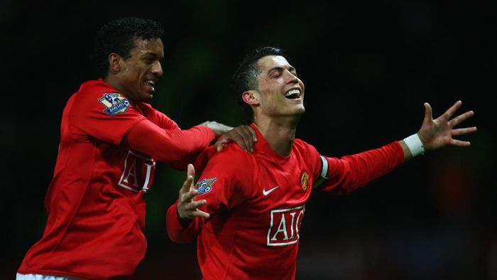 MANCHESTER, UNITED KINGDOM - MARCH 19:  Cristiano Ronaldo of Manchester United  celebrates with Luis Nani (L) as he scores their second goal during the Barclays Premier League match between Manchester United and Bolton Wanderers at Old Trafford on March 19, 2008 in Manchester, England.  (Photo by Alex Livesey/Getty Images)