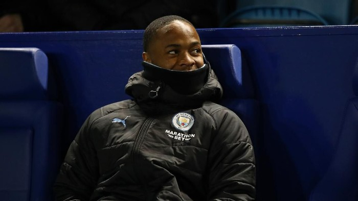 SHEFFIELD, ENGLAND - MARCH 04: Raheem Sterling of Manchester City looks on prior to the FA Cup Fifth Round match between Sheffield Wednesday and Manchester City at Hillsborough on March 04, 2020 in Sheffield, England. (Photo by Clive Brunskill/Getty Images)