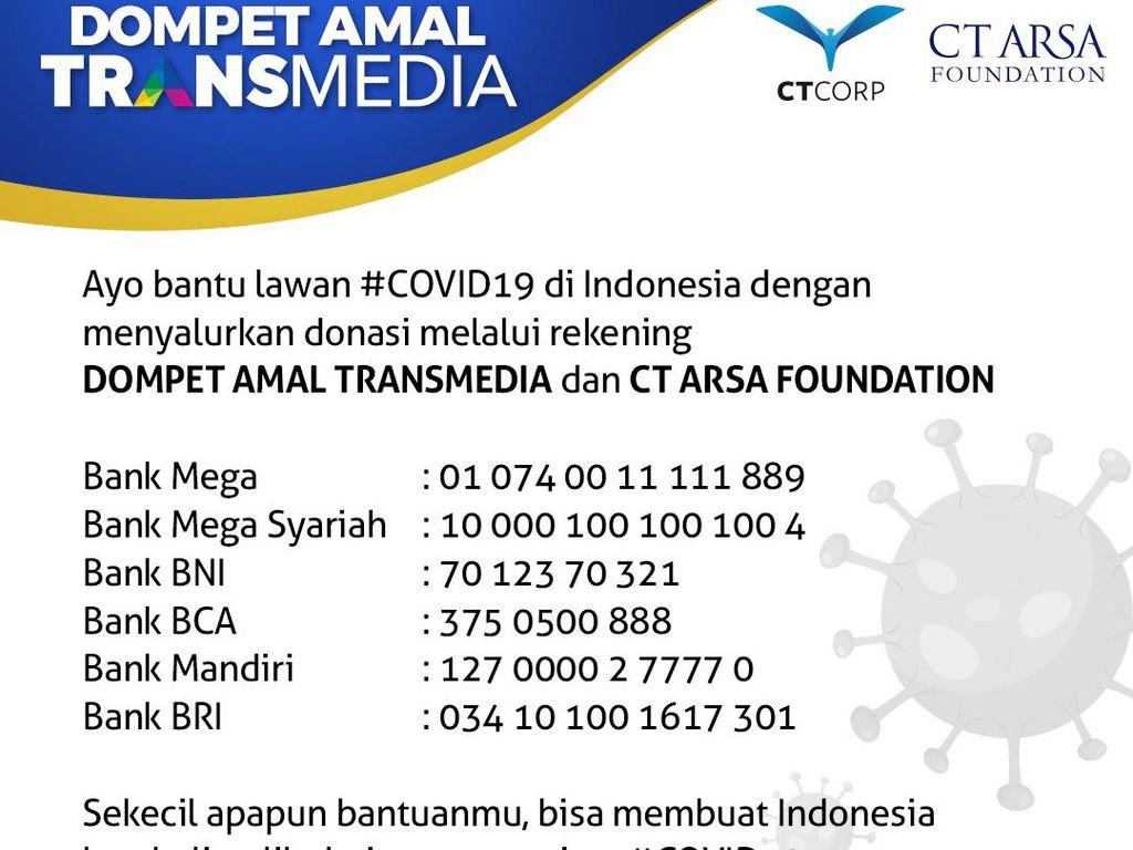 TRANSMEDIA dan CT ARSA Foundation Galang Donasi Lawan Corona