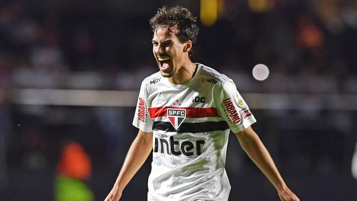 Igor Gomes of Brazils Sao Paulo celebrates his goal against Ecuadors Liga de Quito during their 2020 Copa Libertadores football match held at Morumbi stadium, in Sao Paulo, Brazil, on March 11, 2020. (Photo by NELSON ALMEIDA / AFP)
