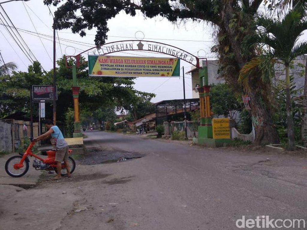Ini Lokasi Spanduk Tolak Pemakaman Korban Corona di Simalingkar Medan