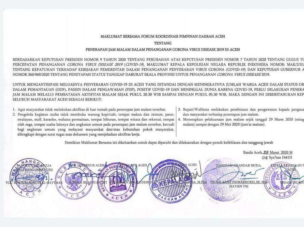 Pemerintah Aceh Terbitkan Maklumat Batas Jam Aktivitas Warga di Luar Rumah