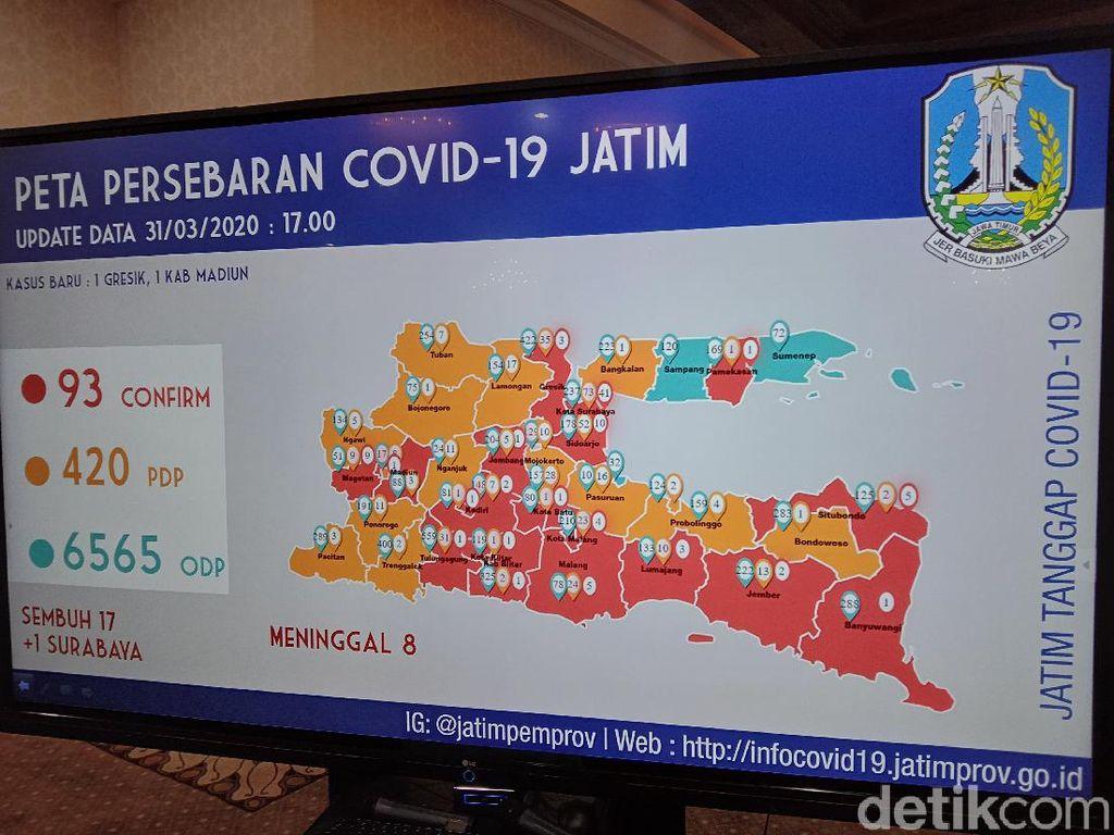 Kasus Corona di Jatim Tembus 7.078, Ini Peta Persebarannya