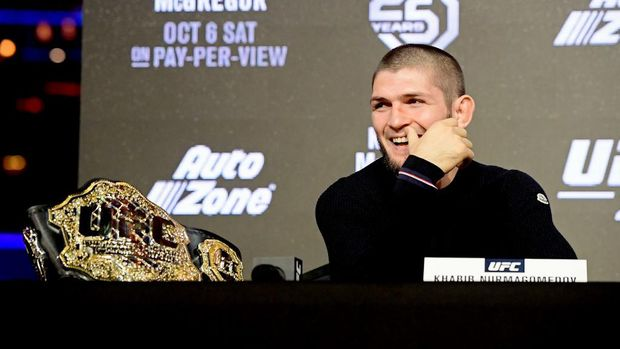 NEW YORK, NY - SEPTEMBER 20: Lightweight Champion Khabib Nurmagomedov reacts during the UFC 229 Press Conference at Radio City Music Hall on September 20, 2018 in New York City.   Steven Ryan/Getty Images/AFP