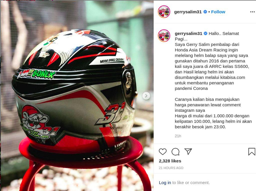 Bantu Penanganan Corona, Pebalap Surabaya Ini Lelang Helm Bersejarah