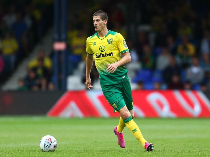 LUTON, ENGLAND - JULY 27: Timm Klose of Norwich City in action during the Pre-Season Friendly match between Luton Town and Norwich City at Kenilworth Road on July 27, 2019 in Luton, England. (Photo by Jordan Mansfield/Getty Images)