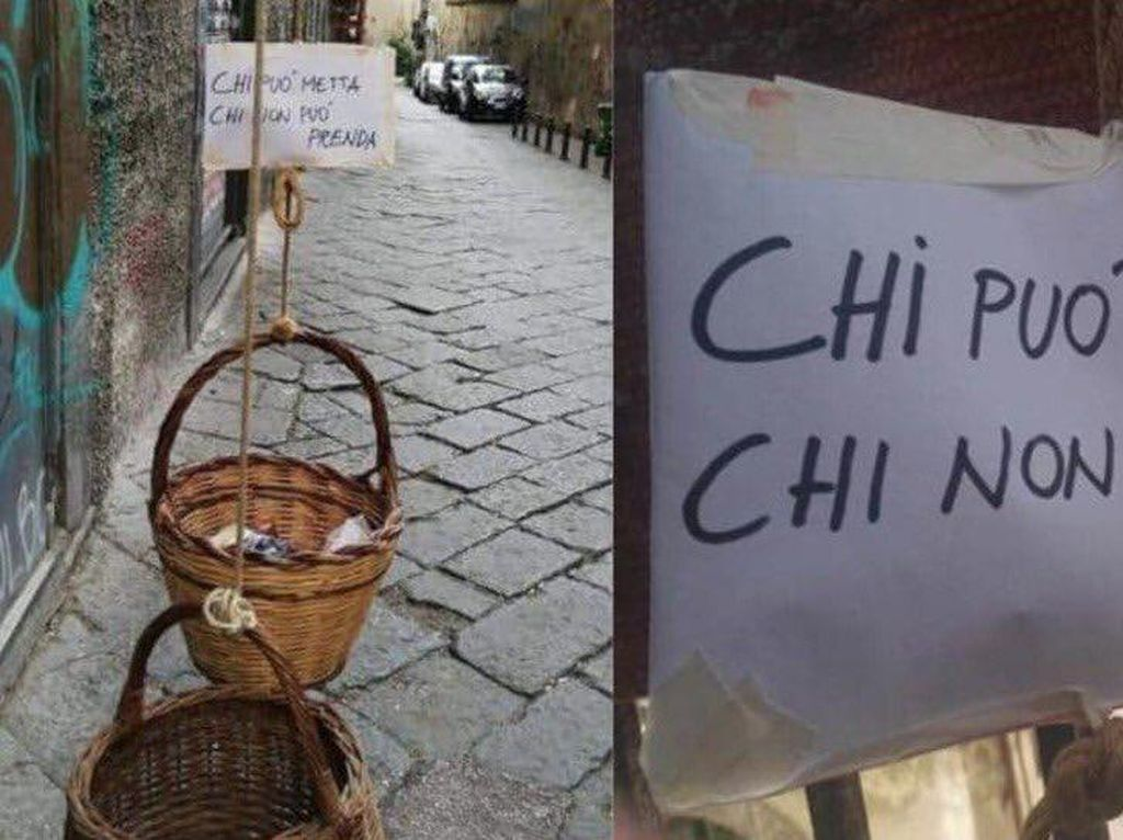 Warga Italia Siapkan Keranjang Isi Makanan untuk Tunawisma Selama Lockdown