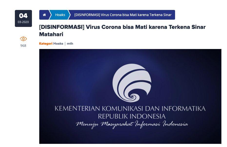 Kominfo soal disinformasi bahwa Corona mati lawan sinar matahari. (Dok Kemenkominfo)