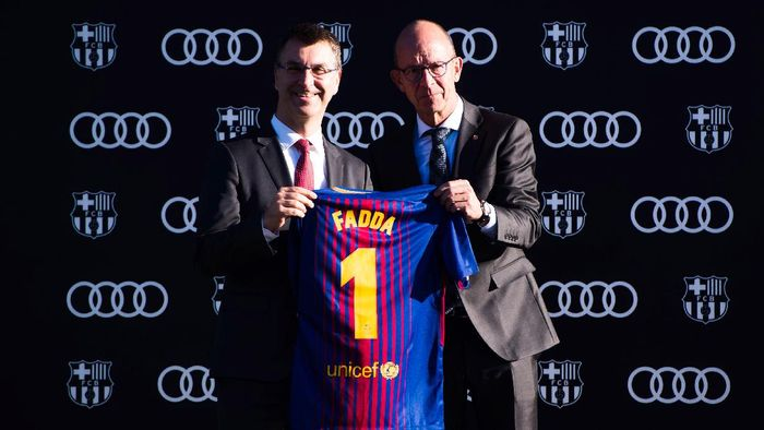 MONTMELO, SPAIN - NOVEMBER 30:  Director Guillermo Fadda of Audi Spain and Vice president Jordi Cardoner of FC Barcelona pose for a photograph during the Audi Car handover to the players of FC Barcelona on November 30, 2017 at Circuit de Barcelona-Catalunya in Montmelo, near Barcelona, Spain.  (Photo by Alex Caparros/Getty Images For AUDI)