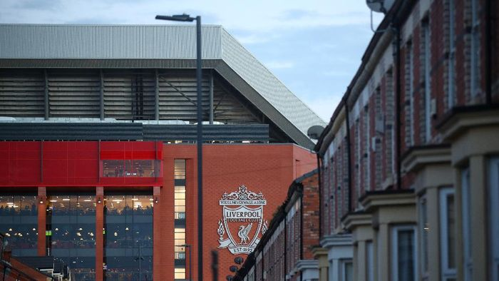 LIVERPOOL, ENGLAND - MARCH 11: General view outside the stadium prior to the UEFA Champions League round of 16 second leg match between Liverpool FC and Atletico Madrid at Anfield on March 11, 2020 in Liverpool, United Kingdom.  (Photo by Julian Finney/Getty Images)