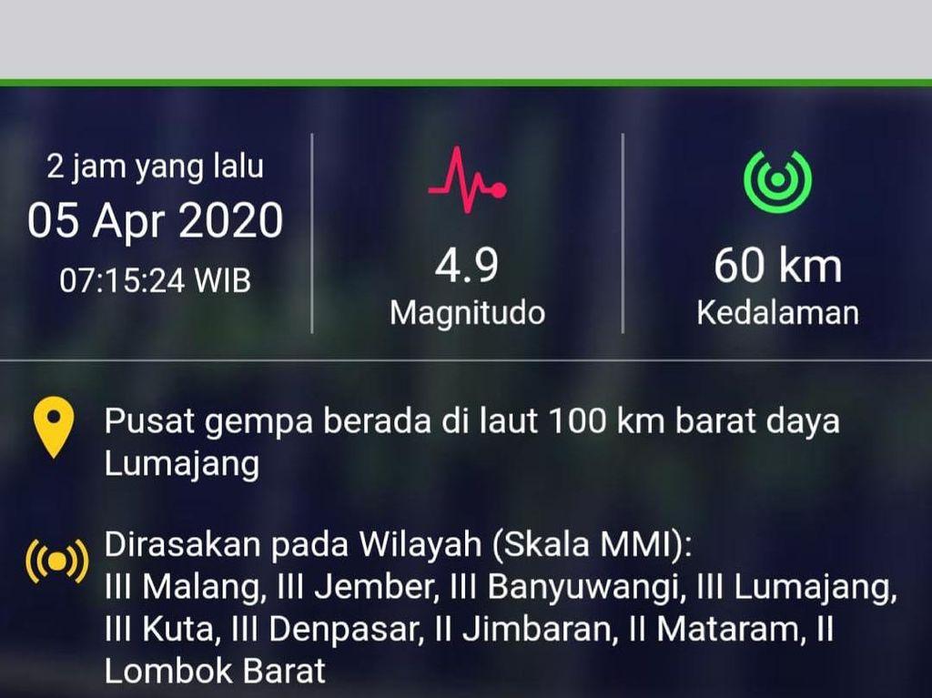 Gempa M 4,9 Lumajang Hanya Dirasakan Warga Pesisir