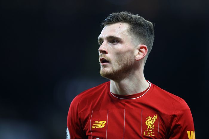 WATFORD, ENGLAND - FEBRUARY 29: Andrew Robertson of Liverpool in action during the Premier League match between Watford FC and Liverpool FC at Vicarage Road on February 29, 2020 in Watford, United Kingdom. (Photo by Richard Heathcote/Getty Images)