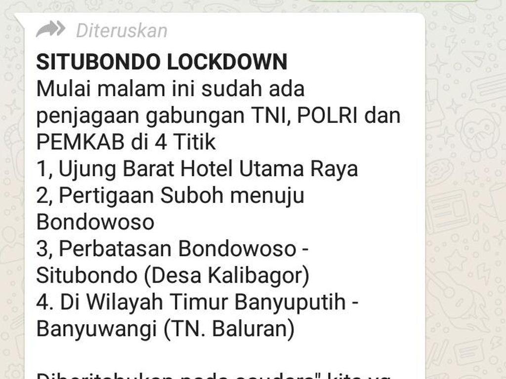 Beredar Kabar Situbondo Lockdown, Gugus Tugas COVID-19 Sebut Hoaks