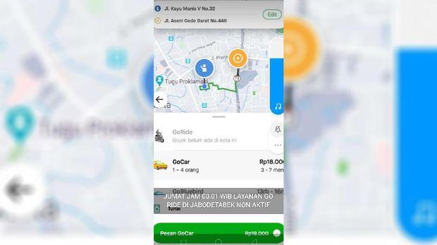 Fitur antar jemput penumpang Gojek hilang dari aplikasi.
