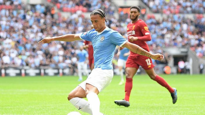 LONDON, ENGLAND - AUGUST 04: Leroy Sane of Manchester City shoots during the FA Community Shield match between Liverpool and Manchester City at Wembley Stadium on August 04, 2019 in London, England. (Photo by Michael Regan/Getty Images)