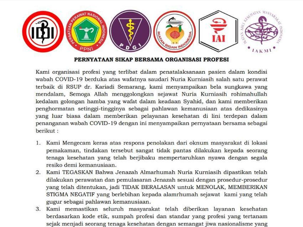 Organisasi Kesehatan Kecam Penolakan Jenazah Perawat Positif Corona di Semarang