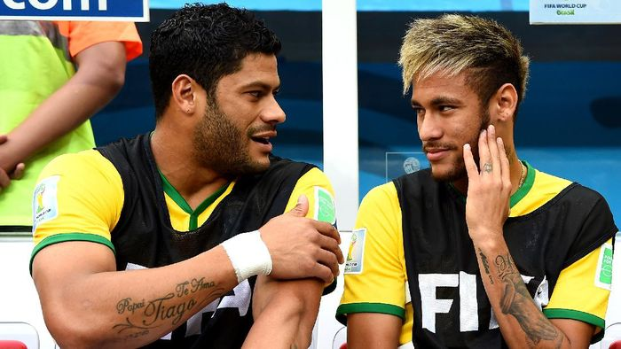 Hulk, Neymar during the 2014 FIFA World Cup Brazil Third Place Playoff match between Brazil and the Netherlands at Estadio Nacional on July 12, 2014 in Brasilia, Brazil.