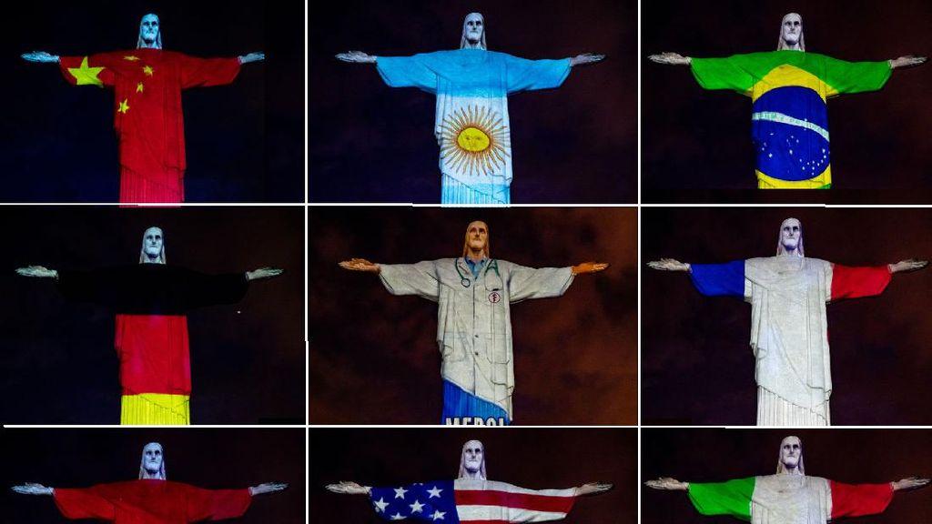 Ketika Patung Kristus di Rio Berbalut Bendera Negara Pandemi Corona