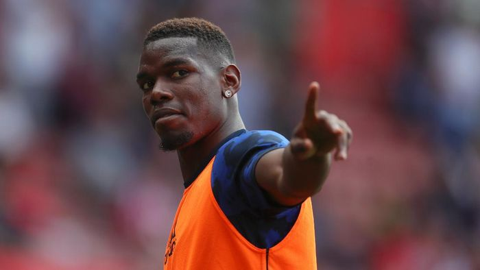 SOUTHAMPTON, ENGLAND - AUGUST 31: Paul Pogba of Manchester United warms up prior to the Premier League match between Southampton FC and Manchester United at St Marys Stadium on August 31, 2019 in Southampton, United Kingdom. (Photo by Catherine Ivill/Getty Images)