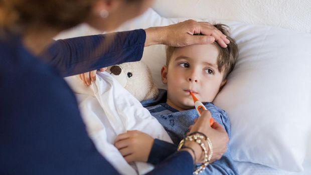 ilustrasi anak laki-laki sakit