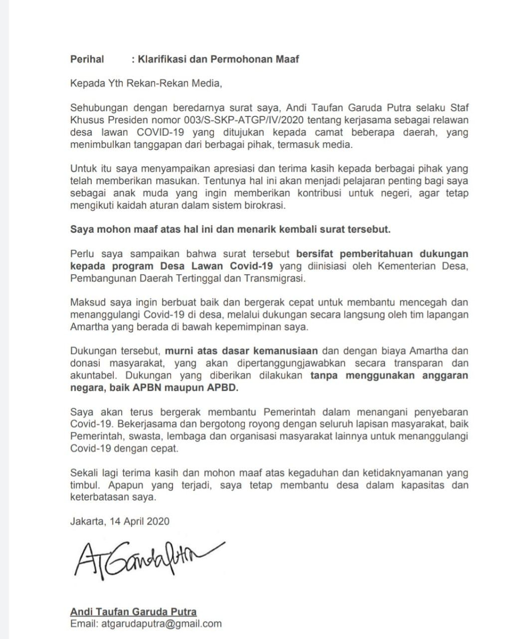 Surat Staf khusus Presiden Joko Widodo (Jokowi), Andi Taufan Garuda Putra