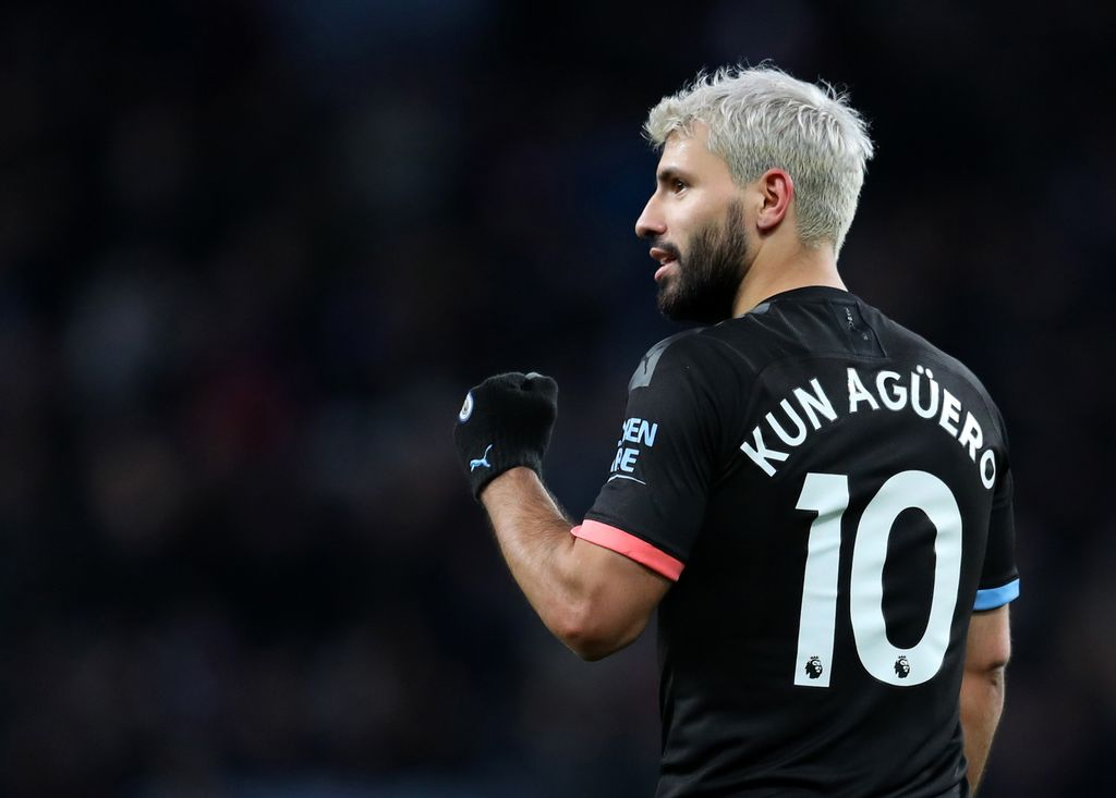 BIRMINGHAM, ENGLAND - JANUARY 12: Sergio Aguero of Manchester CIty celebrates scoring his hat-trick and his sides sixth goal during the Premier League match between Aston Villa and Manchester City at Villa Park on January 12, 2020 in Birmingham, United Kingdom. (Photo by Catherine Ivill/Getty Images)