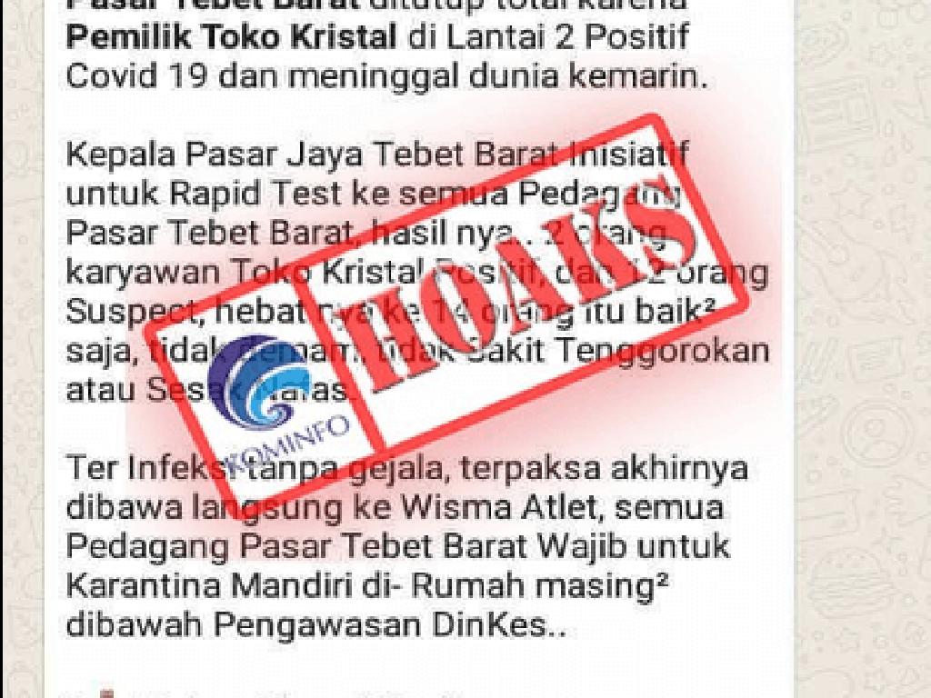Kominfo Tegaskan Broadcast Corona di Pasar Tebet Barat Adalah Hoax