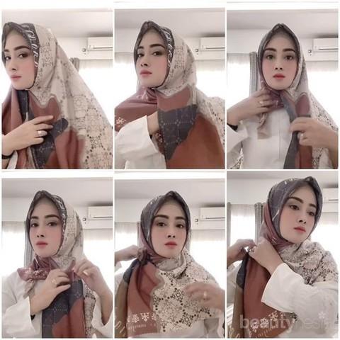 Tutorial Hijab Segiempat Yang Cantik Dan Simpel Ala Influencer Nina Septiani