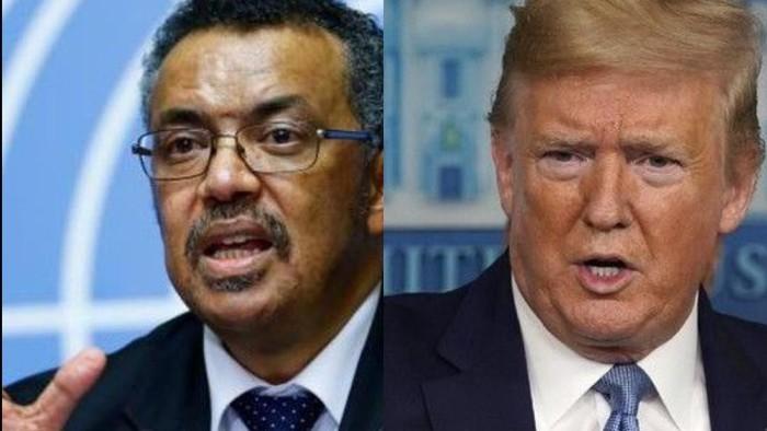 Dirjen WHO Tedros Adhanom dan Presiden AS Donald Trump (sumber: kolase foto dari AP dan AFP)