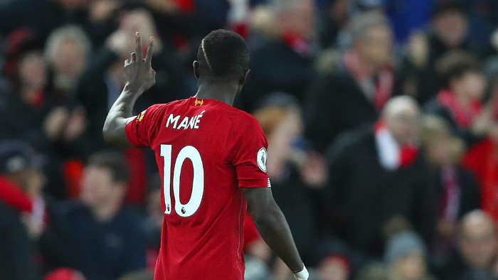 LIVERPOOL, ENGLAND - JANUARY 02: Sadio Mane of Liverpool celebrates after scoring his teams second goal during the Premier League match between Liverpool FC and Sheffield United at Anfield on January 02, 2020 in Liverpool, United Kingdom. (Photo by Clive Brunskill/Getty Images)