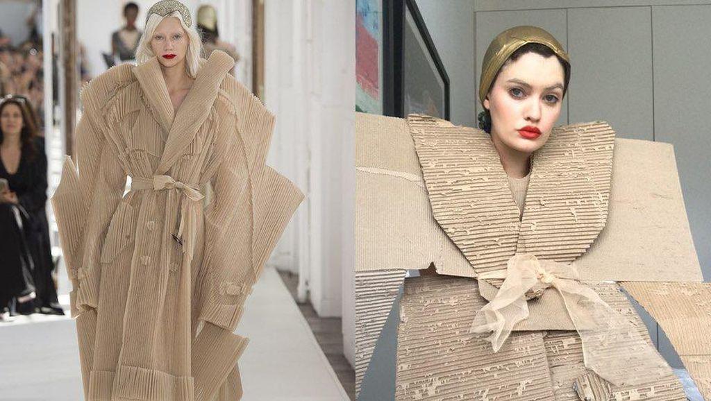 Tren #HomeCouture, Kocaknya Netizen Bikin Baju dari Kardus Hingga Plastik