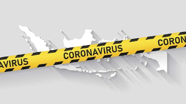 Map of Indonesia with a coronavirus warning tape (COVID-19, 2019-nCoV) isolated on a gray background. The map is white with a long shadow effect and in a flat design style. Conceptual image: coronavirus outbreak on the territory, coronavirus detected, closing of borders, area under control, stop coronavirus, quarantined area, spread of the disease, virus alert, danger zone, confined space. Vector Illustration (EPS10, well layered and grouped). Easy to edit, manipulate, resize or colorize.