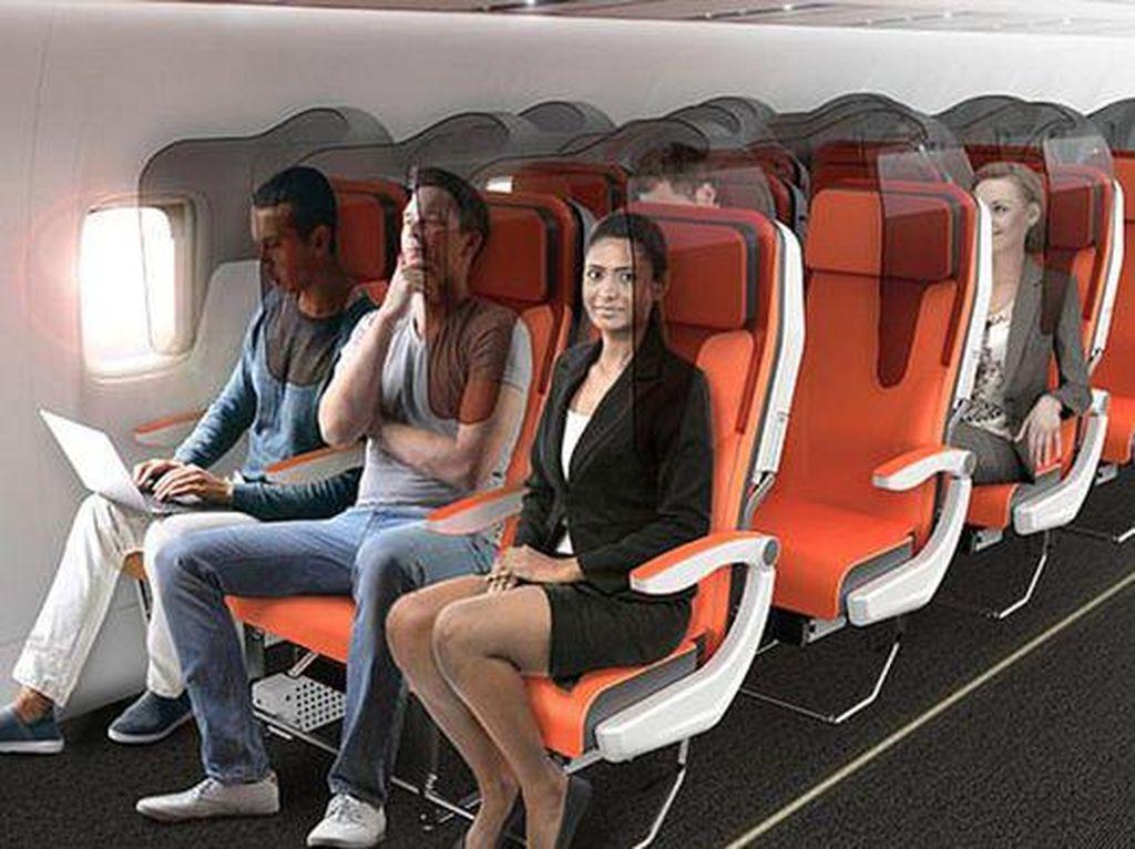 Foto: Desain Kursi Pesawat Anti Corona, Ada Kacanya