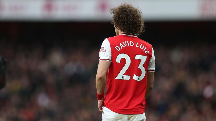 LONDON, ENGLAND - MARCH 07: David Luiz of Arsenal during the Premier League match between Arsenal FC and West Ham United at Emirates Stadium on March 07, 2020 in London, United Kingdom. (Photo by Alex Morton/Getty Images)