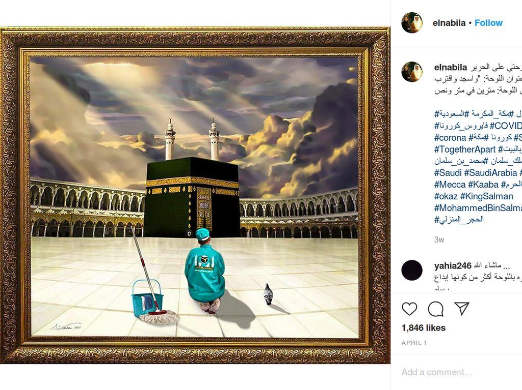 Viral Lukisan Petugas Kebersihan Seorang Diri Bersimpuh di Depan Kabah