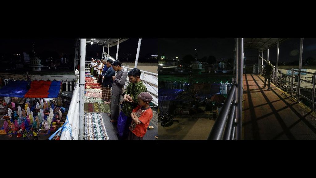Corona Bikin Salat Tarawih di JPO Pasar Gembrong Ditiadakan