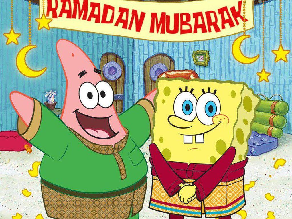 Spongebob Ucapkan Selamat Ramadhan, Netizen RI-Malaysia Ributkan Bajunya