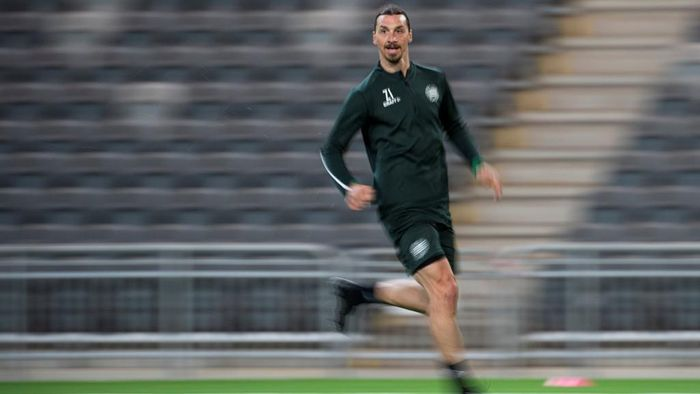 AC Milans Swedish forward Zlatan Ibrahimovic takes part in a training session of Swedish league team Hammarby IF at Tele 2 Arena on April 17, 2020 in Stockholm. (Photo by Jonathan NACKSTRAND / AFP)