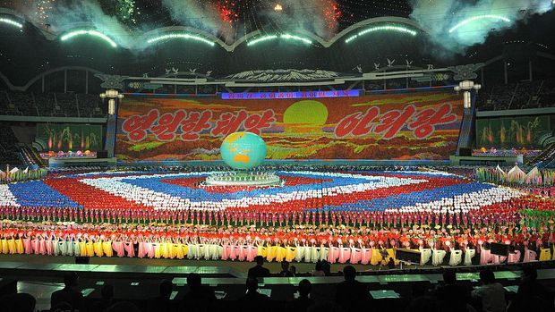 PYONGYANG, NORTH KOREA - OCTOBER 3: North Korean workers and students perform North Korea's biggest spectacle called the Arirang, at the May Day stadium, during the inter-Korea summit on October 3, 2007 in Pyongyang, North Korea. South Korean president Roh Moo-Hyun and North Korean leader Kim Il Jong are holding a three day summit aimed at ending the half-century of animosity between the two states that have remained technically at war since 1950. (Photo by Pool/Getty Images)