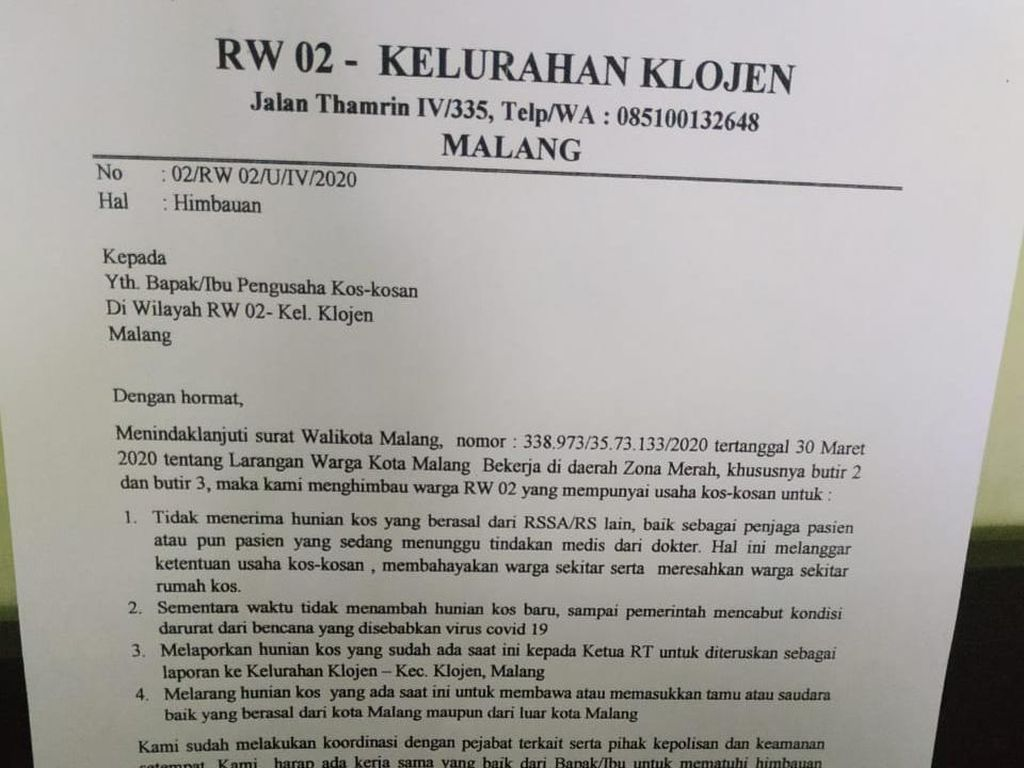 Surat Edaran RW di Kota Malang Tolak Tenaga Medis Ngekos Bikin Heboh